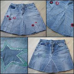En gammel klassiker: At lave sine slidte jeans, om til en nederdel. Barbie Clothes, Sewing Clothes, Diy Clothes, Jeans Refashion, Diy Jeans, Little Girl Skirts, Skirts For Kids, Artisanats Denim, Remake Clothes
