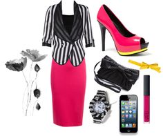 """""""stripes and hot pink"""" by amanda-cotten on Polyvore"""