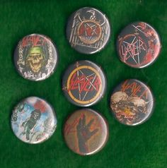SLAYER 7 Pins Buttons Badges thrash metal heavy metal reign in blood