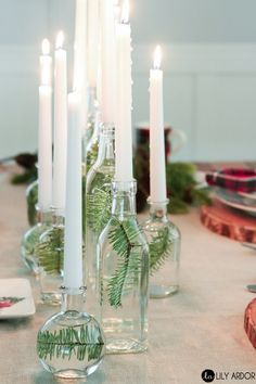 15 DIY to create a scandinavian Christmas decor christmas tablescapes , 15 DIY to create a scandinavian Christmas decor 15 DIY to create a scandinavian Christmas decor. Wine Bottle Candle Holder, Wine Bottle Centerpieces, Diy Centerpieces, Christmas Centerpieces, Christmas Tablescapes, Wine Bottles Decor, Diy Christmas Table Decorations, Homemade Candle Holders, Christmas Party Table