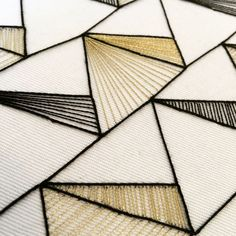 Geometric Embroidery with gold thread – Jade Denton ( on Instagr… Geometric Embroidery, Modern Embroidery, Embroidery Kits, Cross Stitch Embroidery, Machine Embroidery, Gold Embroidery, Hungarian Embroidery, Embroidery Hoops, Embroidery Jewelry