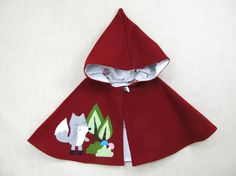 Pixie Capelet - Red Riding Hood. Children Cape, Poncho, Costume, Handmade, Wool, Girls,  Ready to ship via Etsy
