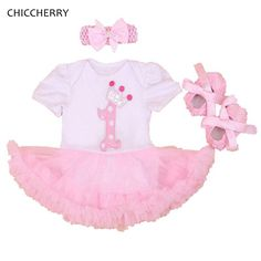 4a6f9c947 Baby Girl 1st Birthday Outfit Summer Clothing Sets Lace Romper Dress Crib  Shoes Headband Toddler Tutu