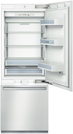Bosch Fully Integrated Bottom-Freezer Refrigerator with cu. Capacity, SuperCool, SuperFreeze, Sabbath/Economy/Vaction Modes, Sidewall LED Lighting and Ice Maker Canada Counter Depth Refrigerator, Bottom Freezer Refrigerator, Built In Refrigerator, Stainless Steel Refrigerator, Floating Glass Shelves, Glass Shelves Kitchen, Glass Furniture, Safe Storage, Kitchens