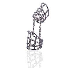 DOUBLE CAGE RING WITH DIAMONDS  Anello doppio in argento  con diamanti neri, da portare  su tutto il dito regolabile con rodio nero.  Maria Vittoria Paolillo Gioielli