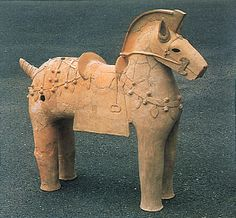 The Kofun period art,Haniwa terracotta clay figure. Horse. Nara Japan.