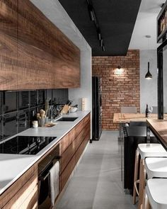 Stunning wood interiors in this split-level home in South Jakarta is a fan ., Stunning wood interiors in this split-level home in South Jakarta is a fan . Modern Industrial Decor, Industrial Style Kitchen, Industrial Interior Design, Interior Design Kitchen, Kitchen Modern, Country Kitchen, Wooden Kitchen, Modern Decor, Industrial Architecture