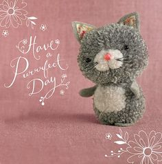 "Cat – ""Tiddly pom pom"" by Eleri Fowler for Paper Rose greeting card Cat Crafts, Animal Crafts, Diy And Crafts, Crafts For Kids, Arts And Crafts, Pom Pom Animals, Felt Animals, Diy Pompon, Diy Broderie"