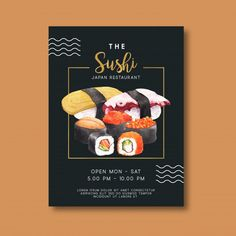 restaurant poster Promotion poster for sushi resta - Menu Restaurant, Restaurant Identity, Food Poster Design, Flyer Design, Design Design, Poster Designs, Graphic Design, Sushi Menu, Poster Generator