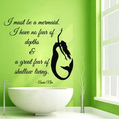Wall Decals Quote I Must Be A Mermaid ... Vinyl Sticker Mural Wall Decor KG565