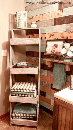 Bonfires and Wine: Bathroom Remodel {on a budget}. Rustic ladder towel storage.