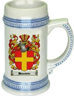 Beaudoin Coat of Arms / Family Crest tankard stein mug