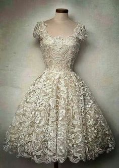 Gorgeous lace vintage dress, would be amazing for the rehearsal or casual reception.