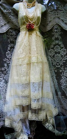 Cream wedding dress tiered lace tulle vintage bride outdoor romantic medium by vintage opulence on Etsy