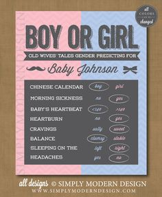 gender reveal party, old wives tales, boy or girl, gender prediction, baby shower, chevron, sign  www.simplymoderndesign.com