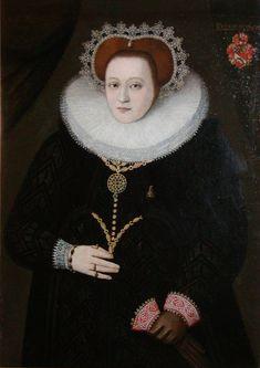 Portrait of Ellen Marsvin (1572-1649), c.1589.  Ellen Marsvin was the mother of Kirsten Munk, tthe morganatic wife of Christian IV of Denmark.