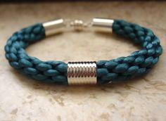 Teal Blue Kumihimo Bracelet with Metal by NaturalDesignStudio