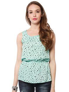 Star pattern chiffon dressy top $14.99  #star #pattern #chiffon #top