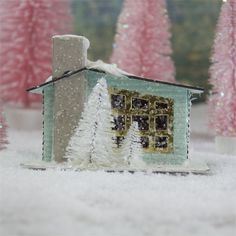 Small Pastel Blue Putz House | Glittered Christmas House Little Christmas, All Things Christmas, Christmas Home, Christmas Crafts, Xmas, Christmas Villages, Christmas Baubles, Christmas Glitter, Shabby Chic Christmas