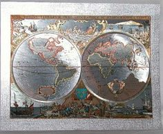 English foil art old world map print reproduced in gold foil 8x6 antique old world map in silver foil of ocean going ships in 1600 go gumiabroncs