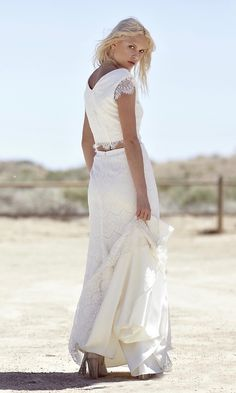 "Ivory Lace Bohemian Bridal Gown Maxi Wedding- ""Caterina"" by Daughters Of Simone"