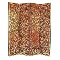"Four-panel birch room divider with a bronzed vine motif and crackled finish.  Product: Room divider    Construction Material: Solid birch wood    Color: Bronze   Features:  Four panels    Creates a reading nook in the library or dressing area in your master suite   Will enhance any décor    Dimensions: 72"" H x 64"" W (overall)"