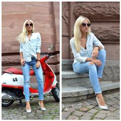 denim #outfit. Zara Jeans, H&M Pumps