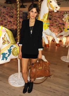 Alexa Chung with her 'Alexa' Mulberry bag