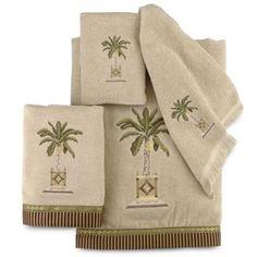 Avanti Banana Palm Hand Towel in Linen - BedBathandBeyond.com