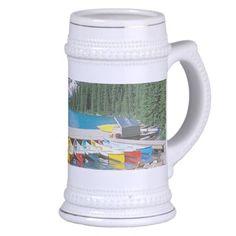 Blue Lake Canada - White/Gold 18 oz Stein Mugs