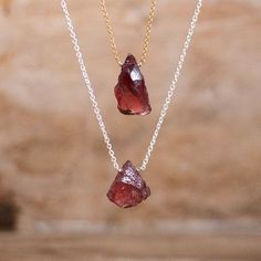 Rough Garnet Necklace in Silver or Gold January Birthstone