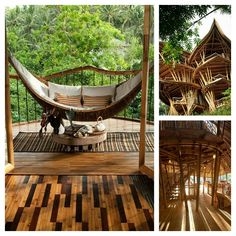 Gorgeous Bamboo Homes - I love the #Hammock This Woman Builds Stunning Sustainable #Homes From Bamboo In #Bali Elora Hardy takes the bamboo house idea and runs with it, building magnificent structures made from an extremely sustainable material. She and her company Ibuku have already built many structures, including the Green School, Green Village and the magnificent Sharma Springs villa. These building proves that bamboo can not only be used for shelter, but to also create luxury. The…