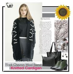 """""""Black Chevron Wool Blend Knitted Cardigan"""" by vipme ❤ liked on Polyvore featuring Shibuya, Smart Solar and vipme"""
