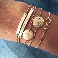 Gold Bracelets | Mini Bar Bracelet | Skinny Bar Bracelet | Gold Pineapple Bracelet | Hammered Disc Bracelet | Gold Infinity Bracelet Handmade Jewelry | Date Bracelet | Personalized Jewelry | Custom Bracelet | Pineapple Jewelry | Infinity Jewelry | Stacking Gold Bracelets | #mymadebymary | @madebymarywithlove via Instagram