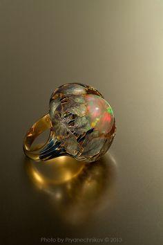 Opal, enamel and gold ring by Ilgiz Fazulzyanov.