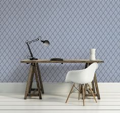 Vertex Indigo Diamond Geometric Wallpaper from the Symetrie Collection by Brewster Home Fashions