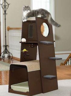 This is a really clever cat tree with the litter box included. Sauder Modular Modern Cat Tree #ad #cat #cats