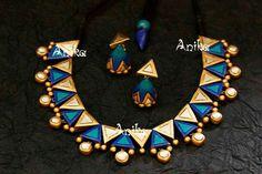 Terracotta Jewellery Making, Terracotta Jewellery Designs, Terracotta Earrings, Silk Thread Bangles Design, Thread Jewellery, Beaded Necklace Patterns, Jewelry Patterns, Ceramic Jewelry, Polymer Clay Jewelry