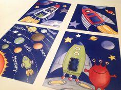 Aliens space rockets kids art prints for boy nursery bedroom