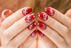 Red Nail Design With Rhinestones  red nail design with rhinestone zoom 300x204