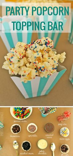 Popcorn bar for a party with sweet toppings like white chocolate and caramel, crushed oreos, colorful sprinkles, cookies, and m&m's! Popcorn Toppings, Popcorn Recipes, Popcorn Bar Party, Healthy Popcorn, Wedding Popcorn Bar, Candy Popcorn, Crushed Oreos, Sleepover Party, Slumber Party Snacks