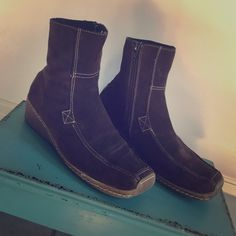 Bakers Brown Suede Boots Size 8 COMFY!!! These are chocolate brown suede boots by Bakers. They are a size 8 and are very comfy. They weren't worn that much. Bundle and save $$$ and on shipping. Bakers Shoes Ankle Boots & Booties