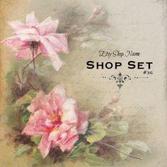 Etsy Banners - Vintage Rose - Etsy Banner Set - Flowers - Etsy Shop Set - Roses