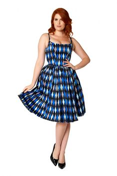 Pinup Couture Jenny Dress in Blue House Harlequin