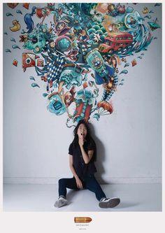 dans-ta-pub-prints-lundi-brillant-creatif-affiche-publicité-74-3 Print Ads, Doodle Art, Advertising Design, Creative Advertising, Photoshop, Visual Metaphor, Ad Of The World, Draw On Photos, Slurpee Flavors