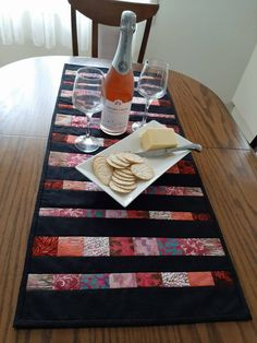 Modern Patchwork Table Runner, batik table topper, black pink scrappy strip runner Patchwork Table Runner, Quilted Table Runners, Nancy Zieman, Everyday Table Decor, Quilts Online, Fabric Strips, Mug Rugs, Table Toppers, Runes