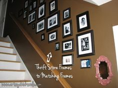 Buy cheap thrift store frames, paint frames to match for an inexpensive and great looking gallery wall! #gallerywall #thrifty