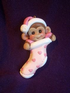Baby Baby's first Christmas Ornament monkey children Personalized Polymer Clay Baby Shower Gift. $15.75, via Etsy.