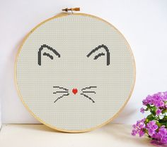 Simple Cat Love Cross Stitch Pattern PDF Instant Download