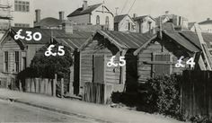 Cottages in Haining Street, Wellington, labelled with 1947 prices. One is listed as selling for 30 pounds, two are selling for five pounds, and one. Chain Of Hearts Plant, Old Pictures, Old Photos, Funny Sketches, Opium Den, Wellington New Zealand, The Hutt, Local Paper, New Zealand Houses
